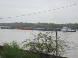 Barge on Mississippi river